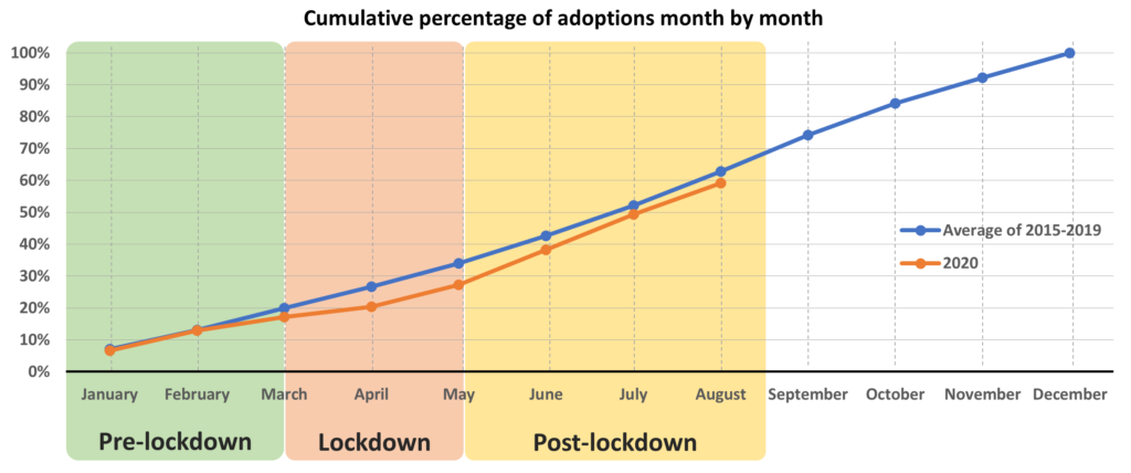 Cumulative percentage of adoptions month by month