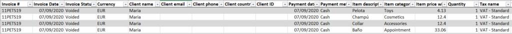 """Hoja de """"Details Data"""" del Excel de Facturación"""