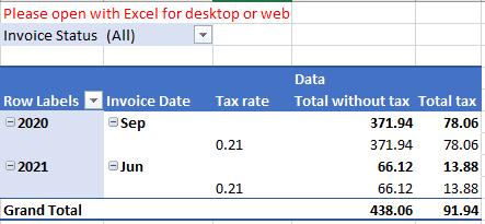 """Hoja de """"Tax"""" del Excel de Facturación"""