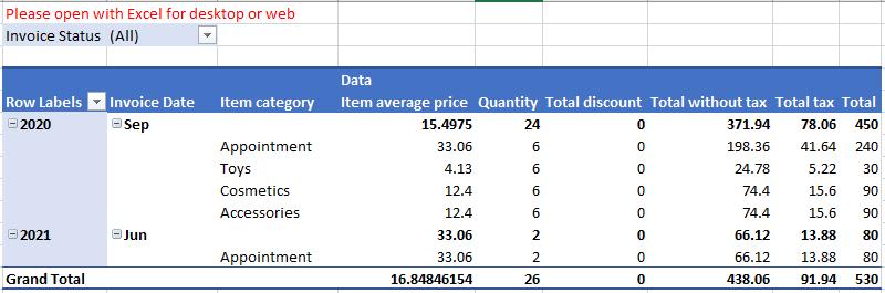 """Hoja de """"Totals"""" del Excel de Facturación"""
